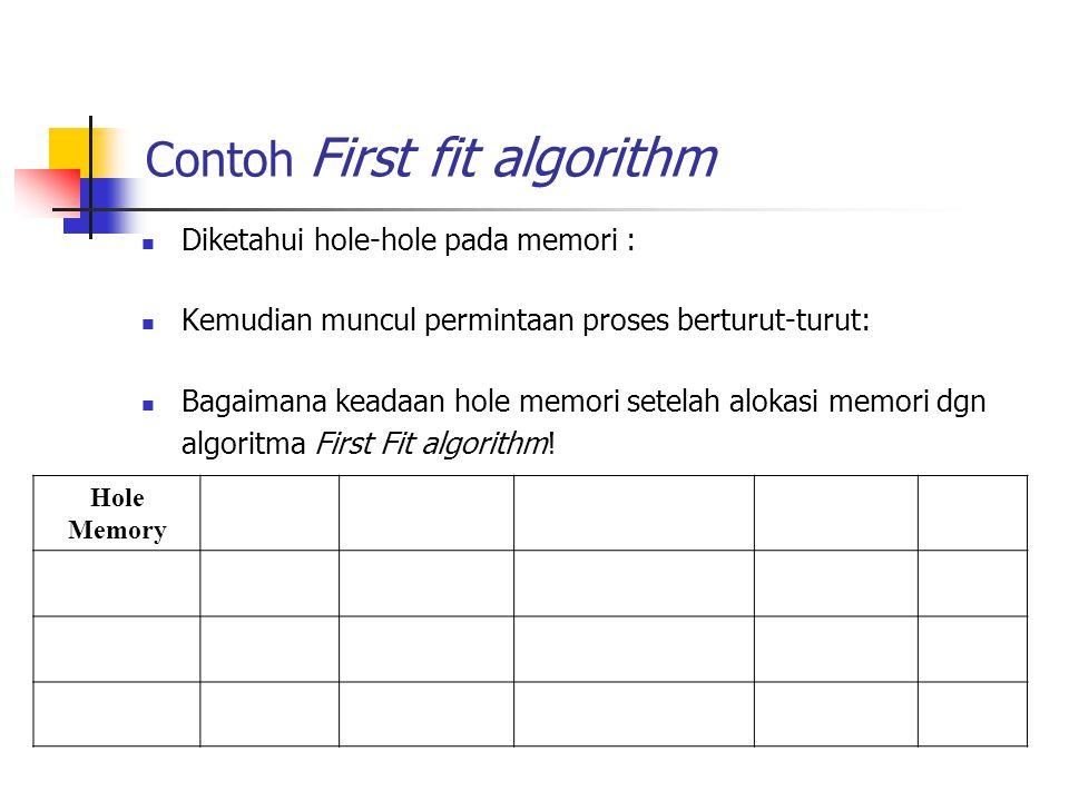 Contoh First fit algorithm Diketahui hole-hole pada memori : Kemudian muncul permintaan proses berturut-turut: Bagaimana keadaan hole memori setelah a