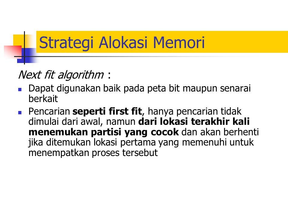 Strategi Alokasi Memori Next fit algorithm : Dapat digunakan baik pada peta bit maupun senarai berkait Pencarian seperti first fit, hanya pencarian ti