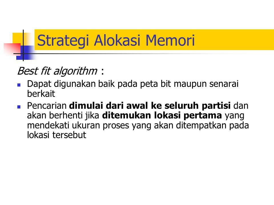 Strategi Alokasi Memori Best fit algorithm : Dapat digunakan baik pada peta bit maupun senarai berkait Pencarian dimulai dari awal ke seluruh partisi