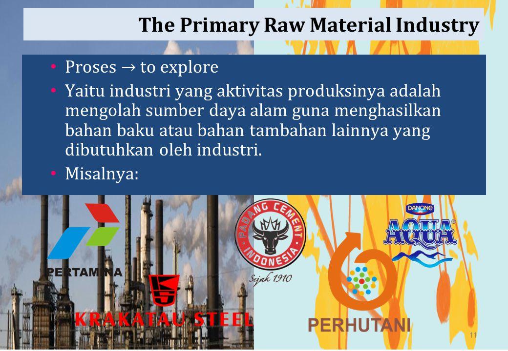The Primary Raw Material Industry Proses → to explore Yaitu industri yang aktivitas produksinya adalah mengolah sumber daya alam guna menghasilkan bah