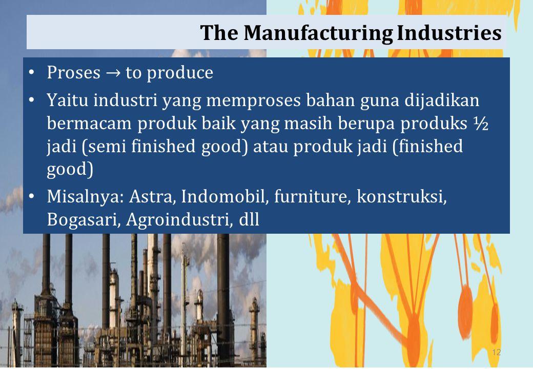 The Manufacturing Industries Proses → to produce Yaitu industri yang memproses bahan guna dijadikan bermacam produk baik yang masih berupa produks ½ j