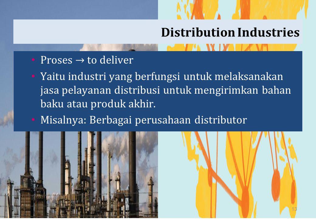 Distribution Industries Proses → to deliver Yaitu industri yang berfungsi untuk melaksanakan jasa pelayanan distribusi untuk mengirimkan bahan baku at