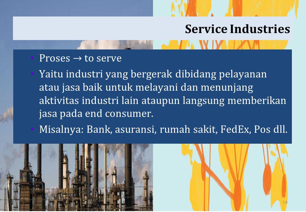 Service Industries Proses → to serve Yaitu industri yang bergerak dibidang pelayanan atau jasa baik untuk melayani dan menunjang aktivitas industri la
