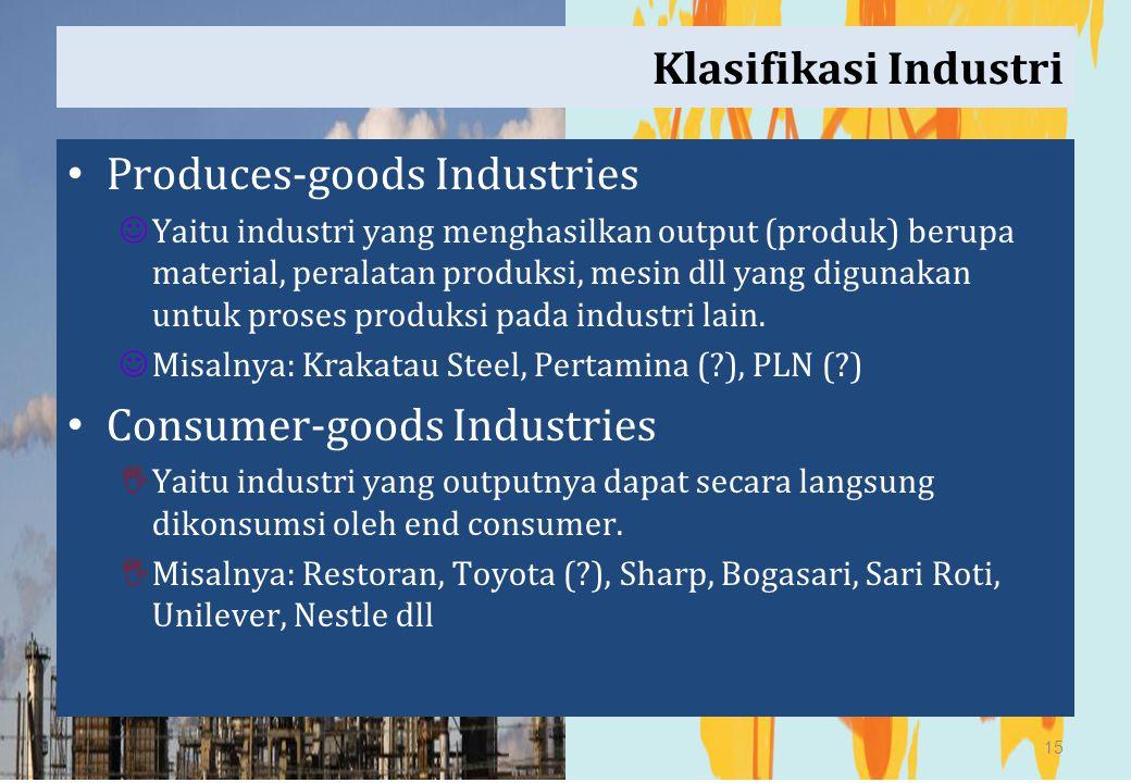 Klasifikasi Industri Produces-goods Industries Yaitu industri yang menghasilkan output (produk) berupa material, peralatan produksi, mesin dll yang di