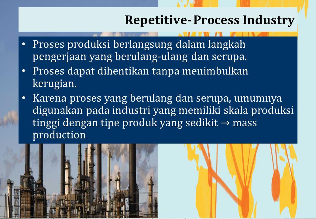 Repetitive- Process Industry Proses produksi berlangsung dalam langkah pengerjaan yang berulang-ulang dan serupa. Proses dapat dihentikan tanpa menimb