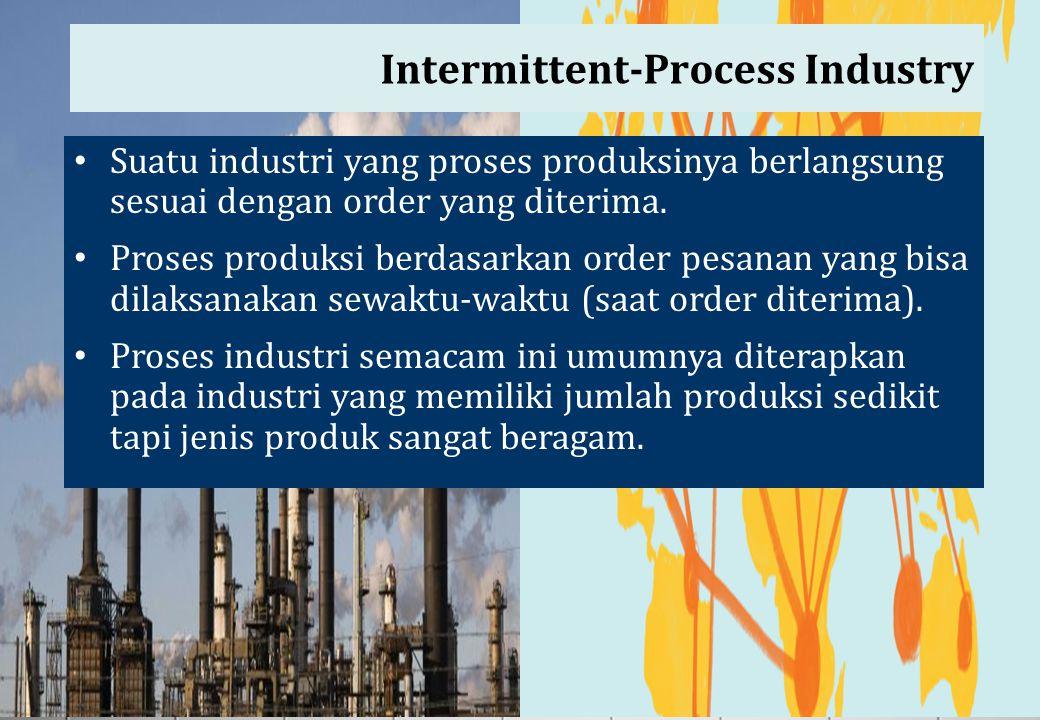 Intermittent-Process Industry Suatu industri yang proses produksinya berlangsung sesuai dengan order yang diterima. Proses produksi berdasarkan order