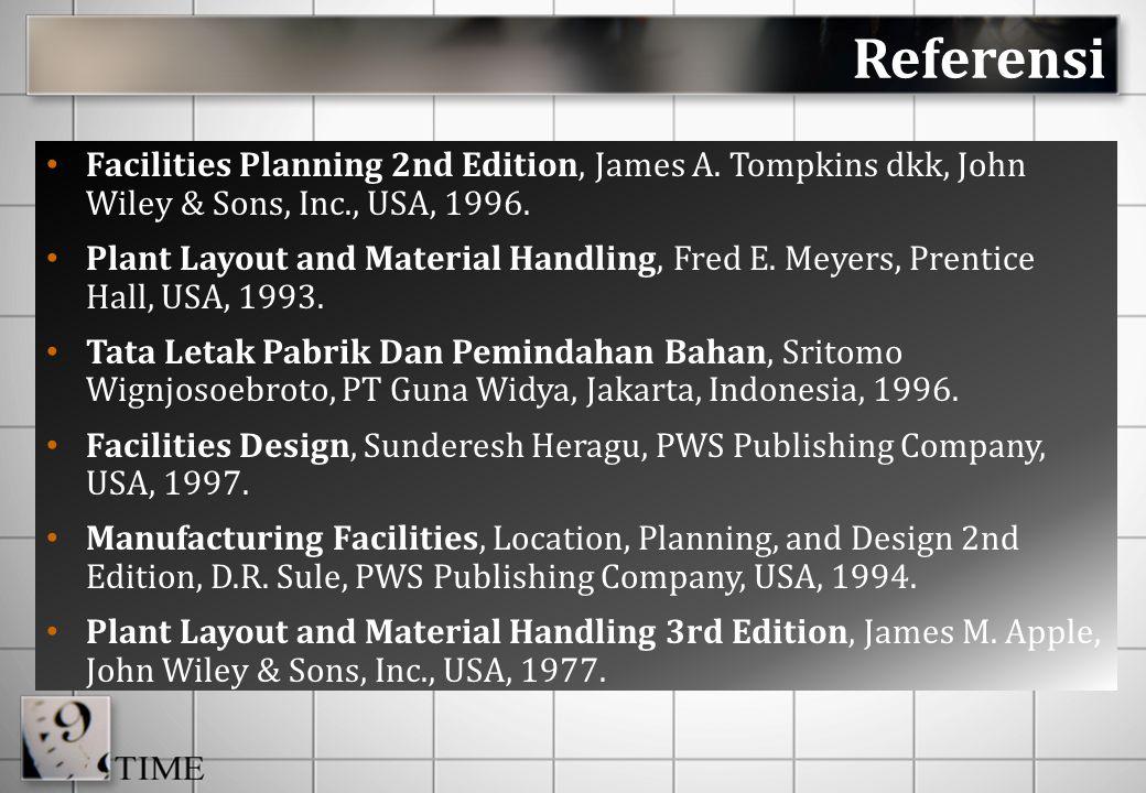 Materi Perkuliahan 1 - 2PENGANTAR TATA LETAK FASILITAS : Konsep Dasar Industri, Perencanaan Fasilitas, Penentuan Lokasi Fasilitas 3 - 4PERANCANGAN TATA LETAK FASILITAS PABRIK : Konsep Dasar Tata Letak, Prinsip Dasar Perancangan Tata Letak, Pendekatan Systematic Layout Planning, Perancangan Produk – Proses - Skedul dan Fasilitas, Routing Sheet 5 - 6ANALISA ALIRAN : Pola Aliran Material, Perencanaan Aliran Material MATERIAL HANDLING (PENANGANAN MATERIAL) : Perancangan Sistem, Material Handling, Peralatan Material Handling ; MHPS 7PRESENTASI TUGAS KELOMPOK 8UJIAN TENGAH SEMESTER