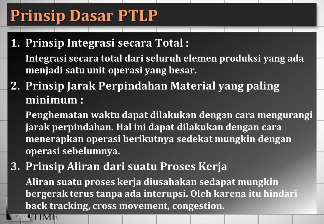 Prinsip Dasar PTLP 1.Prinsip Integrasi secara Total : Integrasi secara total dari seluruh elemen produksi yang ada menjadi satu unit operasi yang besa