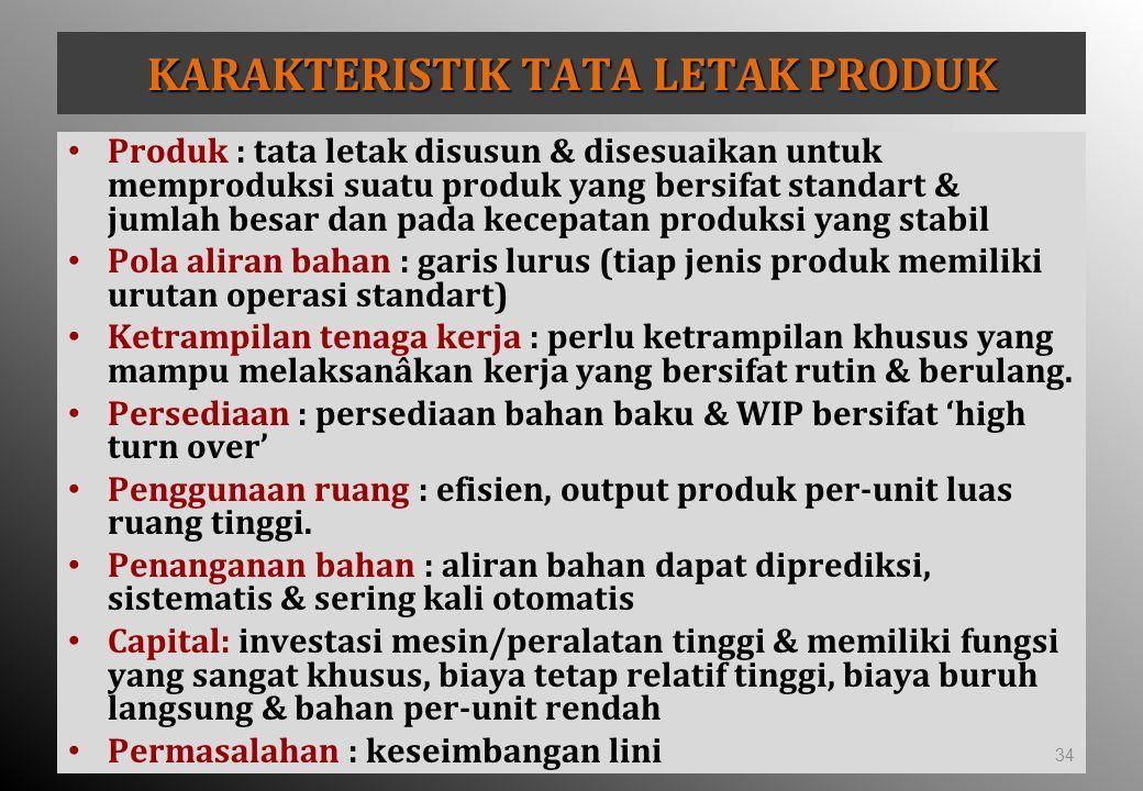 KARAKTERISTIK TATA LETAK PRODUK Produk : tata letak disusun & disesuaikan untuk memproduksi suatu produk yang bersifat standart & jumlah besar dan pad