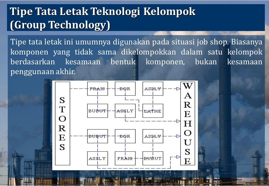 36 Tipe Tata Letak Teknologi Kelompok (Group Technology) Tipe tata letak ini umumnya digunakan pada situasi job shop. Biasanya komponen yang tidak sam