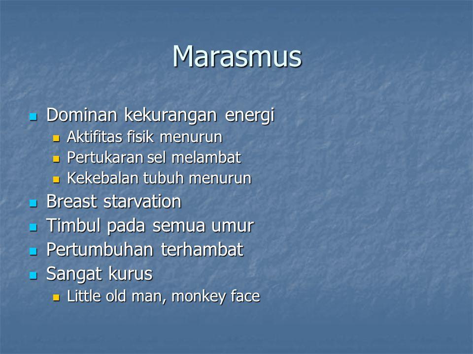 Marasmus Dominan kekurangan energi Dominan kekurangan energi Aktifitas fisik menurun Aktifitas fisik menurun Pertukaran sel melambat Pertukaran sel me