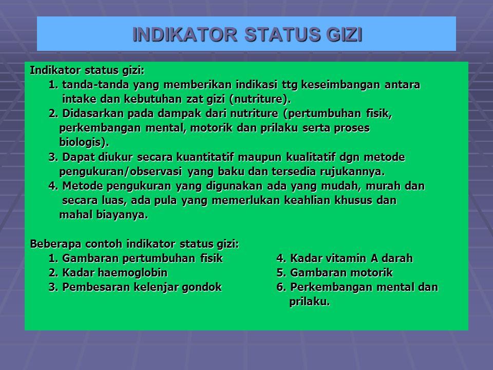 Pertemuan 10 INDIKATOR STATUS GIZI
