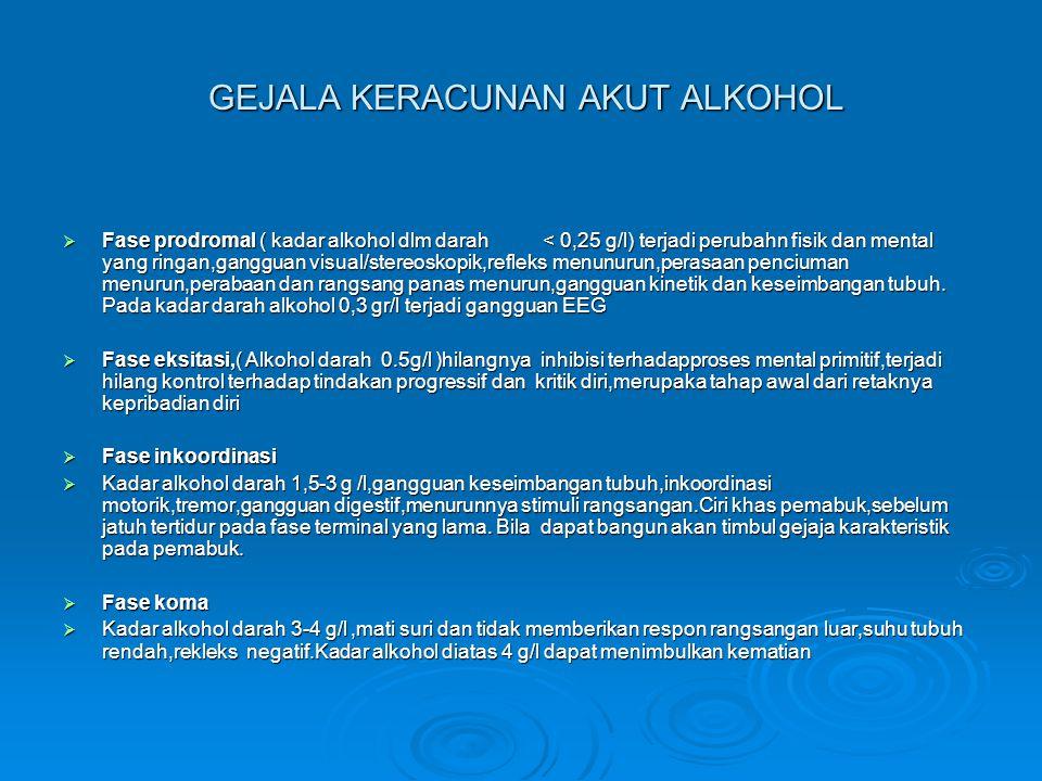 KERACUNAN KRONIK ALKOHOL  Keracunan akut berulang dapat menimbulkan efek kronik  Perubahan temperamen,kebiasaan hidup dan kondisi lain yang menjadi predisposisi tergantung seringnya serangan akut pemabuk,jenis kegemaran minum.
