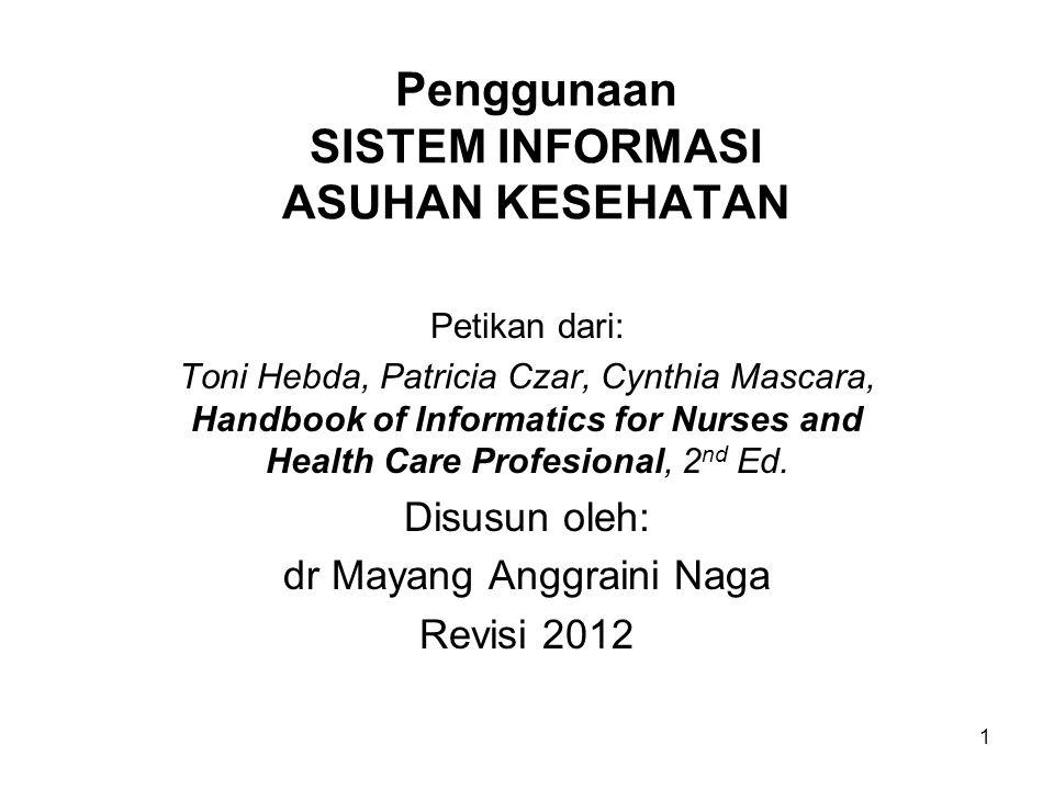 1 Penggunaan SISTEM INFORMASI ASUHAN KESEHATAN Petikan dari: Toni Hebda, Patricia Czar, Cynthia Mascara, Handbook of Informatics for Nurses and Health