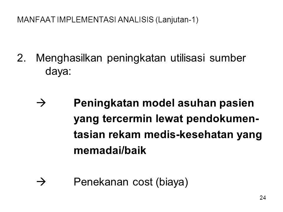 24 MANFAAT IMPLEMENTASI ANALISIS (Lanjutan-1) 2.Menghasilkan peningkatan utilisasi sumber daya:  Peningkatan model asuhan pasien yang tercermin lewat