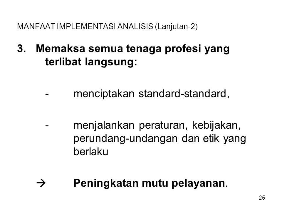 25 MANFAAT IMPLEMENTASI ANALISIS (Lanjutan-2) 3.Memaksa semua tenaga profesi yang terlibat langsung: -menciptakan standard-standard, -menjalankan pera