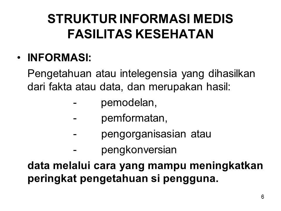 6 STRUKTUR INFORMASI MEDIS FASILITAS KESEHATAN INFORMASI: Pengetahuan atau intelegensia yang dihasilkan dari fakta atau data, dan merupakan hasil: - p