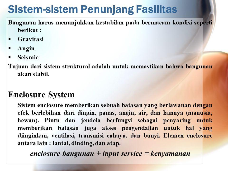 Sistem-sistem Penunjang Fasilitas Bangunan harus menunjukkan kestabilan pada bermacam kondisi seperti berikut :  Gravitasi  Angin  Seismic Tujuan d