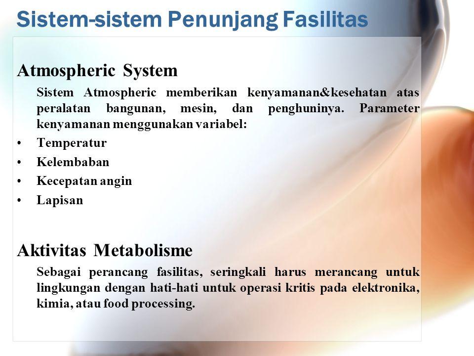 Sistem-sistem Penunjang Fasilitas Atmospheric System Sistem Atmospheric memberikan kenyamanan&kesehatan atas peralatan bangunan, mesin, dan penghuniny