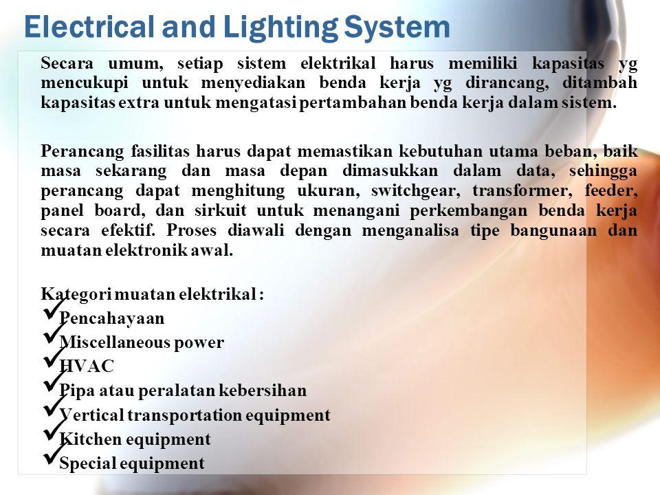Electrical and Lighting System Secara umum, setiap sistem elektrikal harus memiliki kapasitas yg mencukupi untuk menyediakan benda kerja yg dirancang, ditambah kapasitas extra untuk mengatasi pertambahan benda kerja dalam sistem.