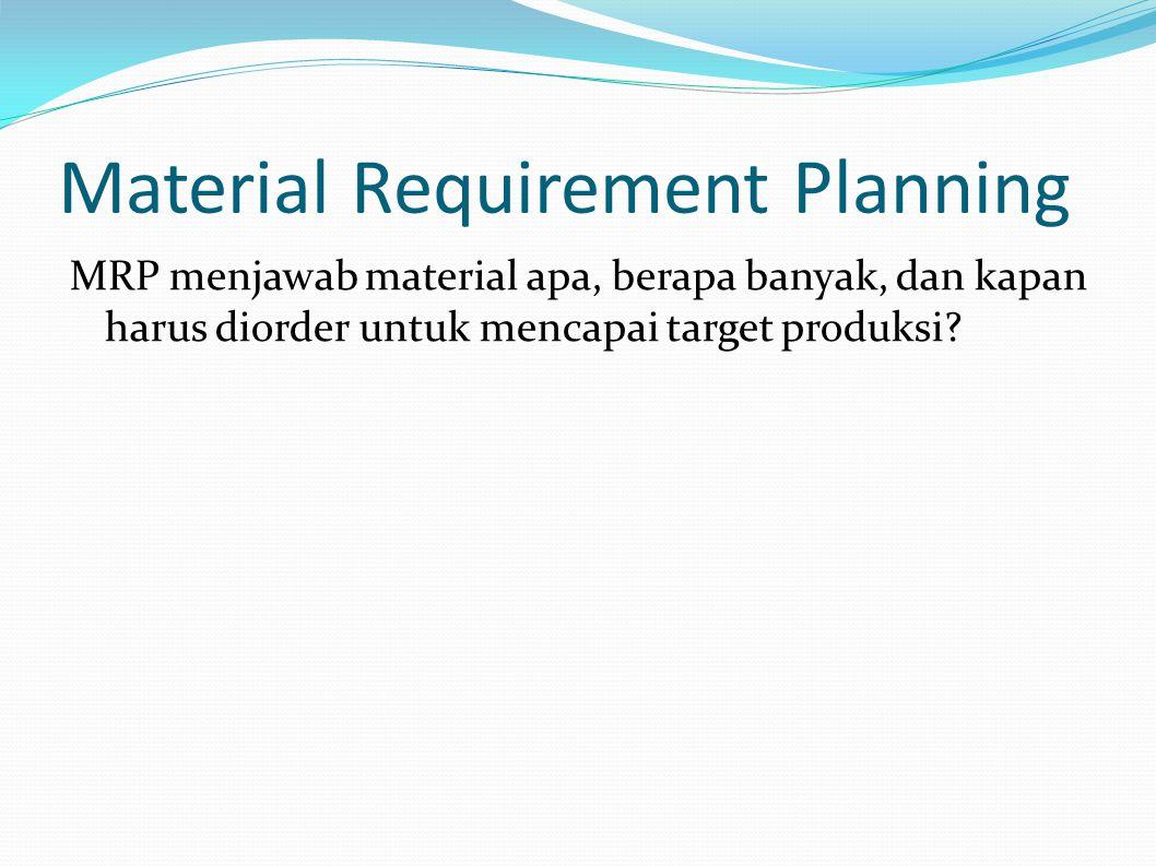 Bill Of Material (BOM) BOM digunakan untuk menghitung berapa banyak masing-masing raw material yang diperlukan untuk memproduksi suatu produk jadi.