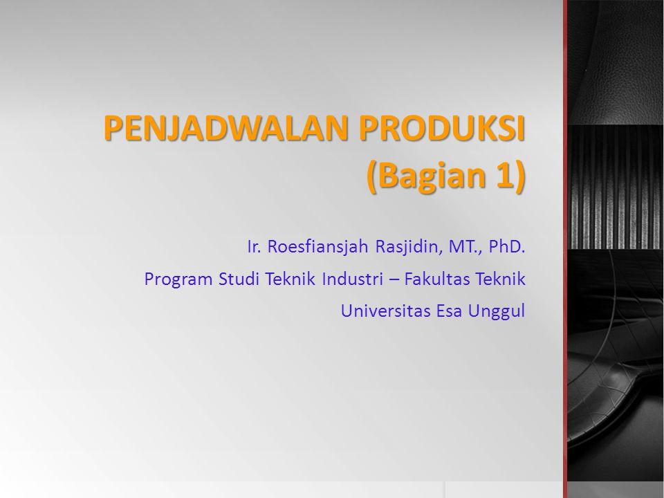 PENJADWALAN PRODUKSI (Bagian 1) Ir. Roesfiansjah Rasjidin, MT., PhD. Program Studi Teknik Industri – Fakultas Teknik Universitas Esa Unggul