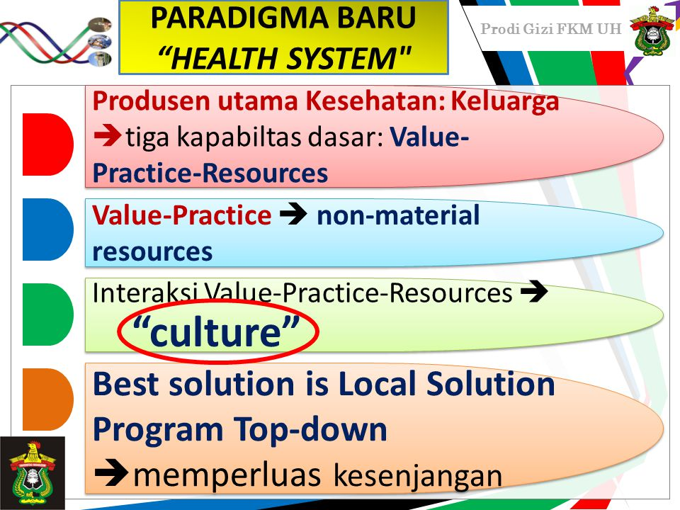 Prodi Gizi FKM UH Produsen utama Kesehatan: Keluarga  tiga kapabiltas dasar: Value- Practice-Resources Value-Practice  non-material resources Interaksi Value-Practice-Resources  Best solution is Local Solution Program Top-down  memperluas kesenjangan PARADIGMA BARU HEALTH SYSTEM culture