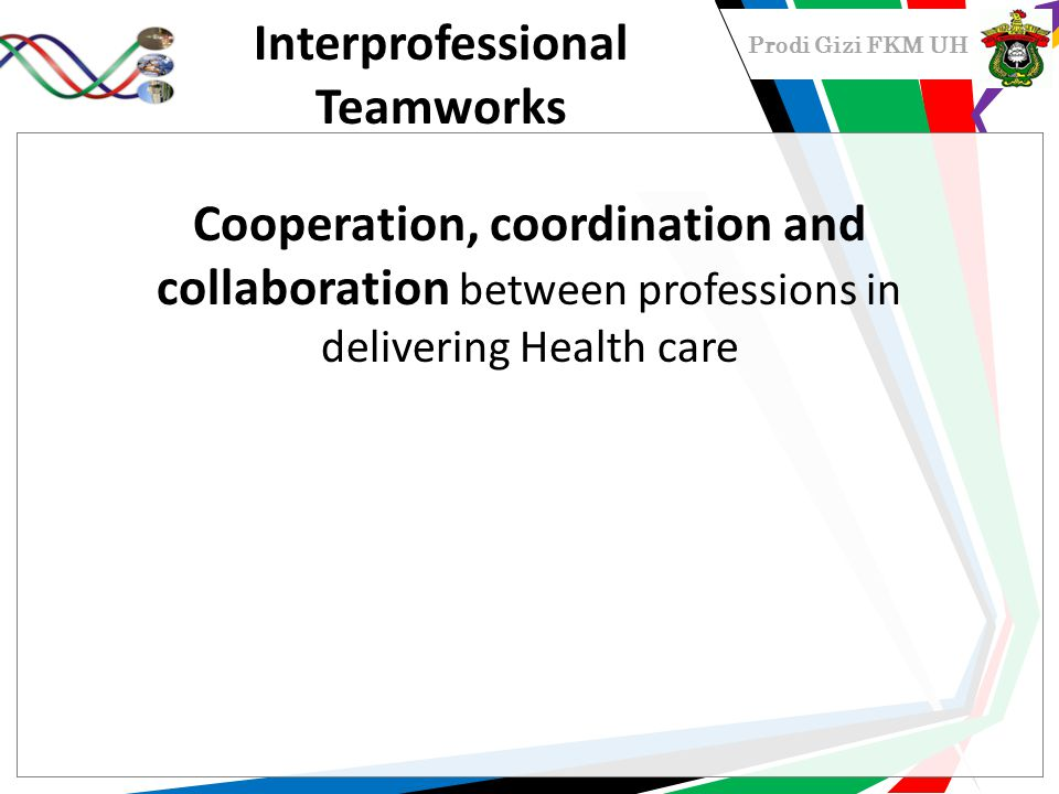 Prodi Gizi FKM UH Interprofessional Teamworks Cooperation, coordination and collaboration between professions in delivering Health care