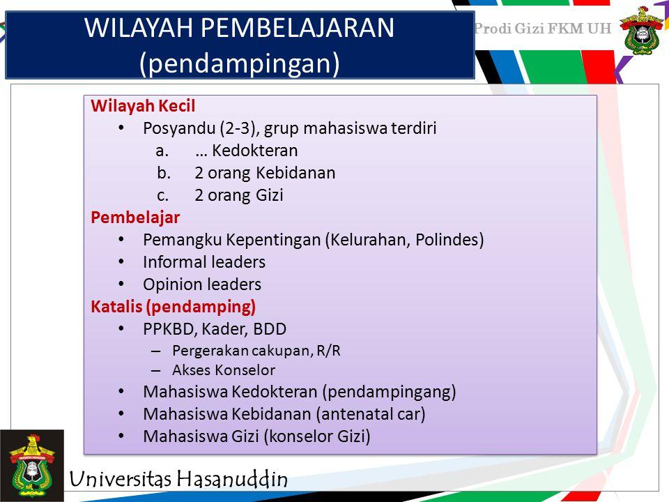 Prodi Gizi FKM UH Wilayah Kecil Posyandu (2-3), grup mahasiswa terdiri a.… Kedokteran b.2 orang Kebidanan c.2 orang Gizi Pembelajar Pemangku Kepenting