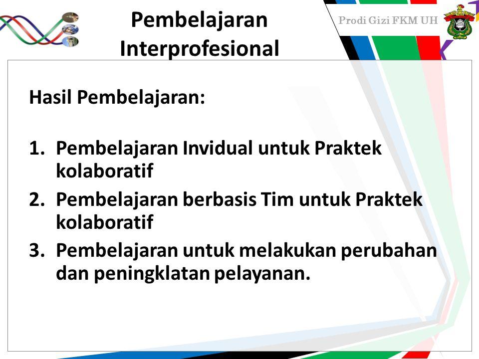 Prodi Gizi FKM UH Pembelajaran Interprofesional Hasil Pembelajaran: 1.Pembelajaran Invidual untuk Praktek kolaboratif 2.Pembelajaran berbasis Tim untu