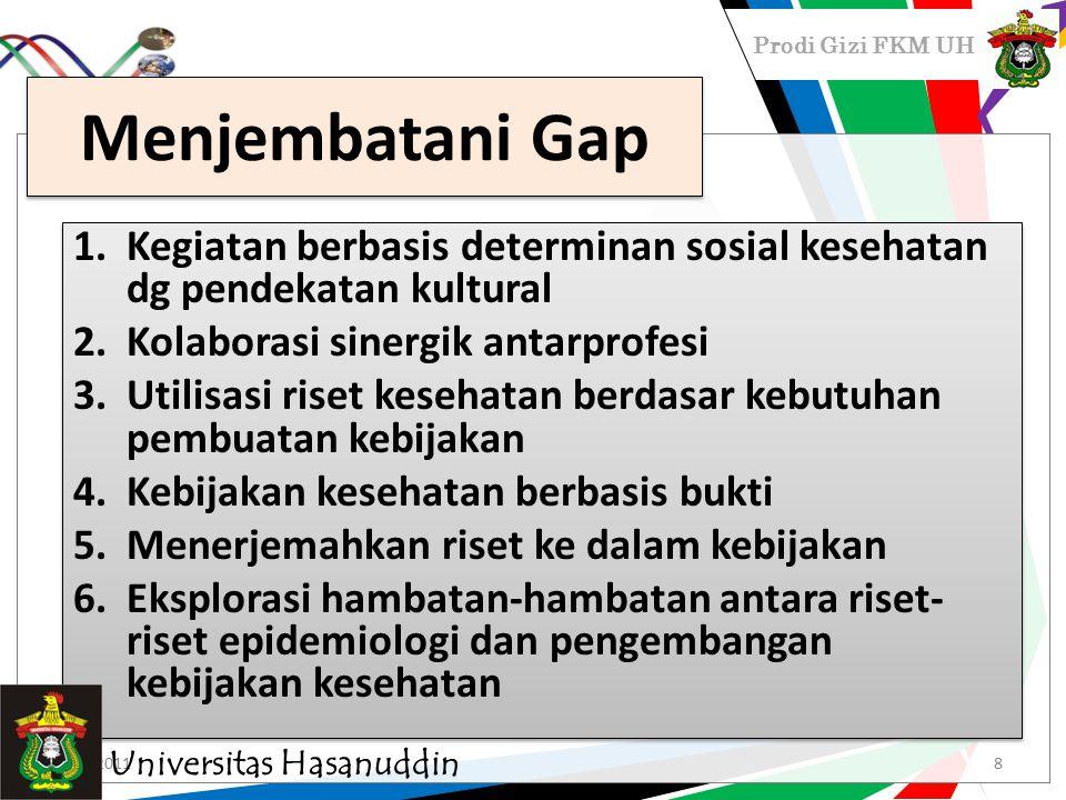 Prodi Gizi FKM UH Menjembatani Gap 1.Kegiatan berbasis determinan sosial kesehatan dg pendekatan kultural 2.Kolaborasi sinergik antarprofesi 3.Utilisa