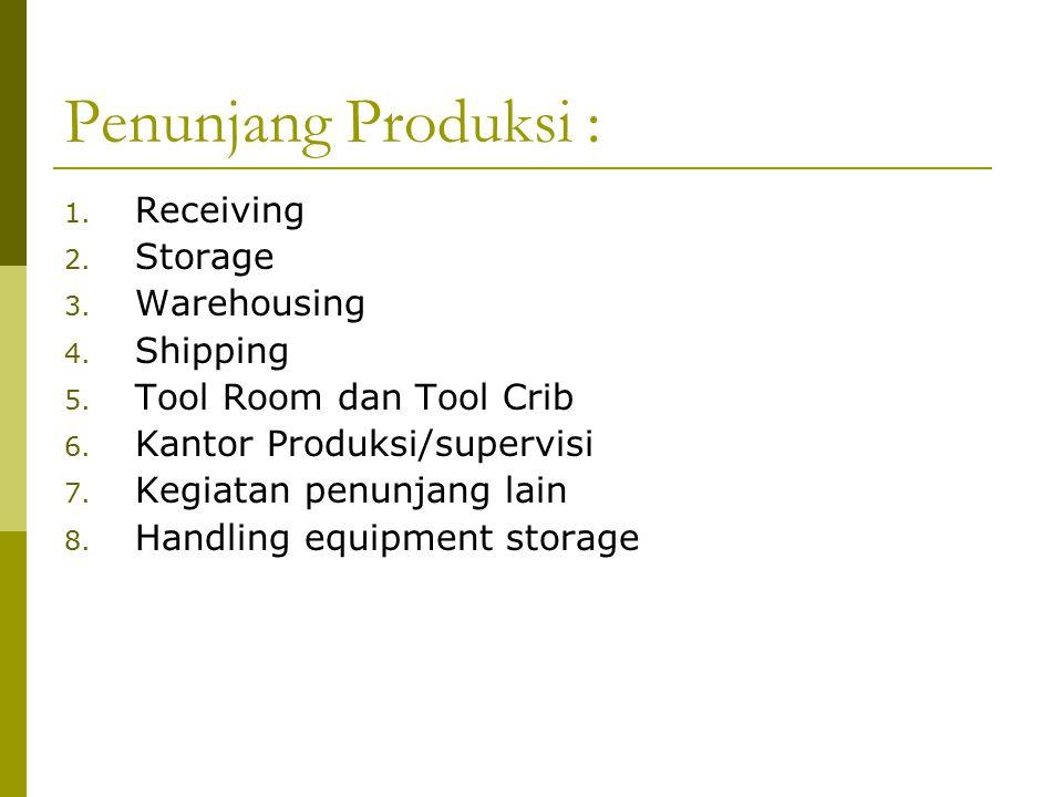 Penunjang Produksi : 1.Receiving 2. Storage 3. Warehousing 4.