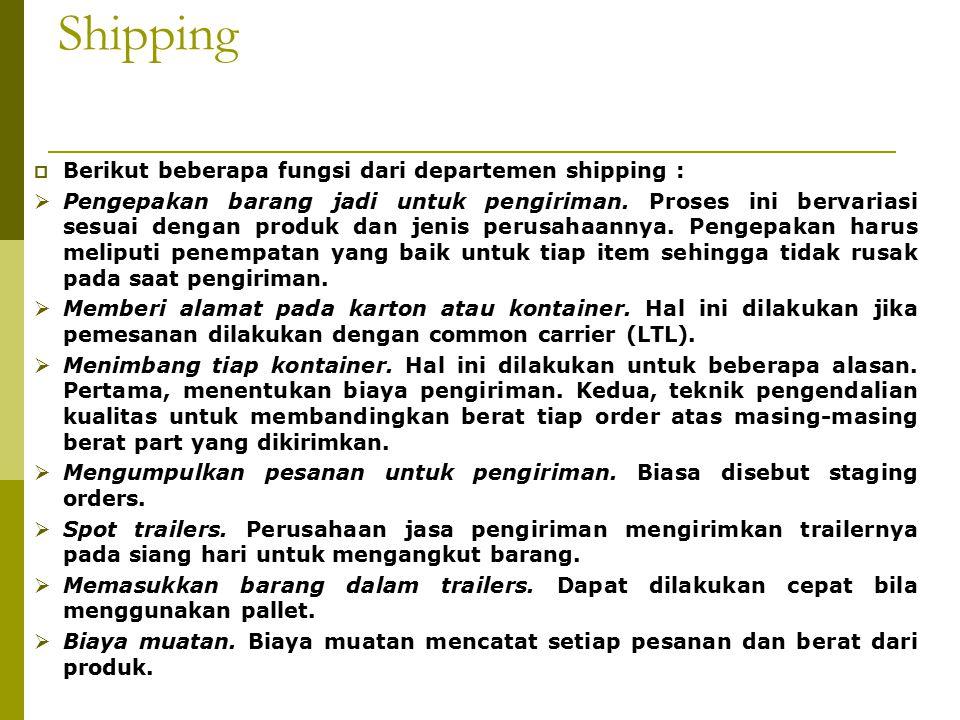 Shipping  Berikut beberapa fungsi dari departemen shipping :  Pengepakan barang jadi untuk pengiriman.