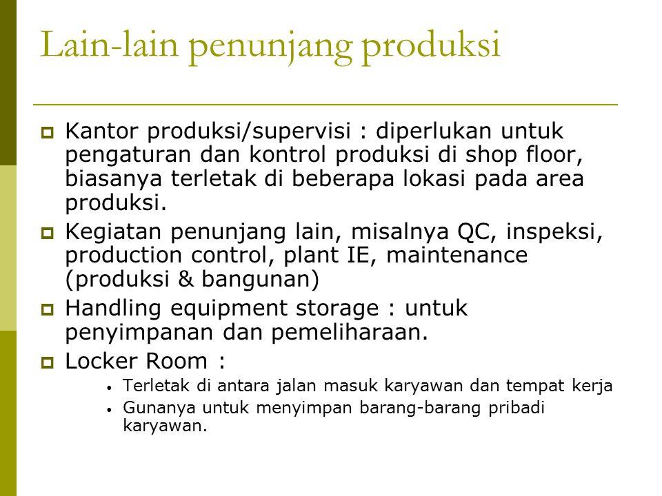  Kantor produksi/supervisi : diperlukan untuk pengaturan dan kontrol produksi di shop floor, biasanya terletak di beberapa lokasi pada area produksi.