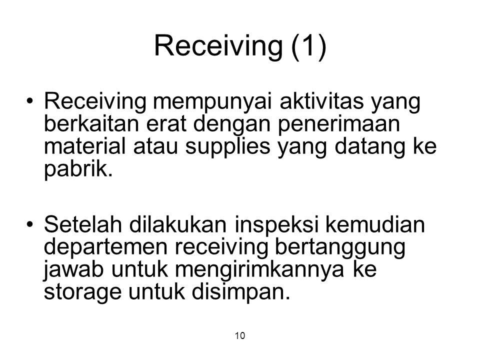 10 Receiving (1) Receiving mempunyai aktivitas yang berkaitan erat dengan penerimaan material atau supplies yang datang ke pabrik.