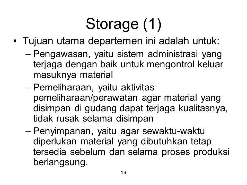 16 Storage (1) Tujuan utama departemen ini adalah untuk: –Pengawasan, yaitu sistem administrasi yang terjaga dengan baik untuk mengontrol keluar masuk