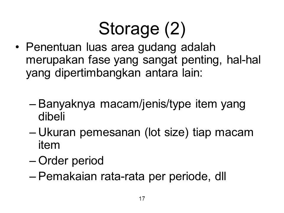 17 Storage (2) Penentuan luas area gudang adalah merupakan fase yang sangat penting, hal-hal yang dipertimbangkan antara lain: –Banyaknya macam/jenis/type item yang dibeli –Ukuran pemesanan (lot size) tiap macam item –Order period –Pemakaian rata-rata per periode, dll