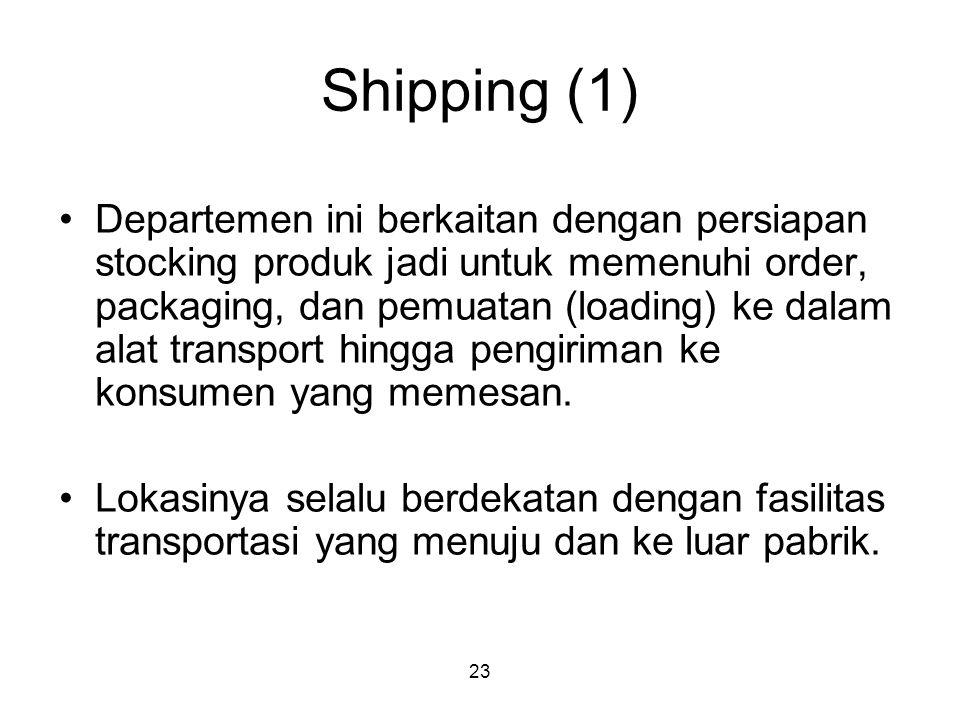 23 Shipping (1) Departemen ini berkaitan dengan persiapan stocking produk jadi untuk memenuhi order, packaging, dan pemuatan (loading) ke dalam alat transport hingga pengiriman ke konsumen yang memesan.