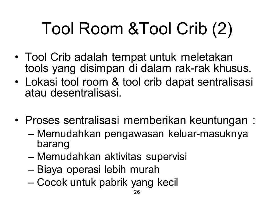 26 Tool Room &Tool Crib (2) Tool Crib adalah tempat untuk meletakan tools yang disimpan di dalam rak-rak khusus.