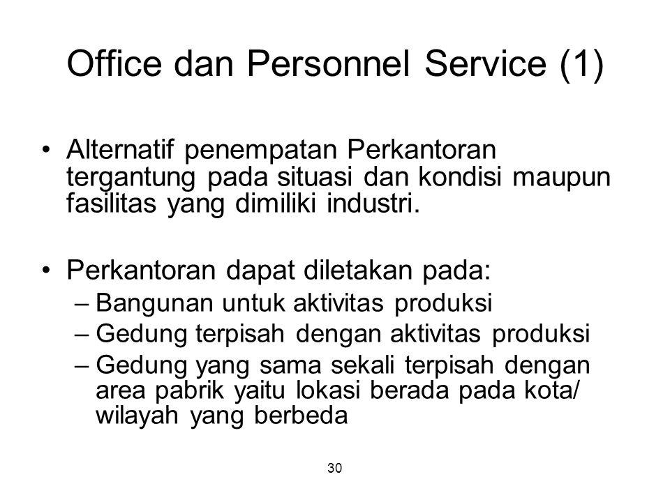 30 Office dan Personnel Service (1) Alternatif penempatan Perkantoran tergantung pada situasi dan kondisi maupun fasilitas yang dimiliki industri.