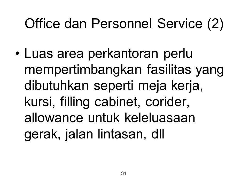 31 Office dan Personnel Service (2) Luas area perkantoran perlu mempertimbangkan fasilitas yang dibutuhkan seperti meja kerja, kursi, filling cabinet, corider, allowance untuk keleluasaan gerak, jalan lintasan, dll