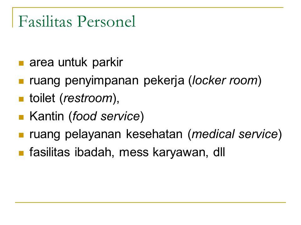 Fasilitas Personel area untuk parkir ruang penyimpanan pekerja (locker room) toilet (restroom), Kantin (food service) ruang pelayanan kesehatan (medical service) fasilitas ibadah, mess karyawan, dll