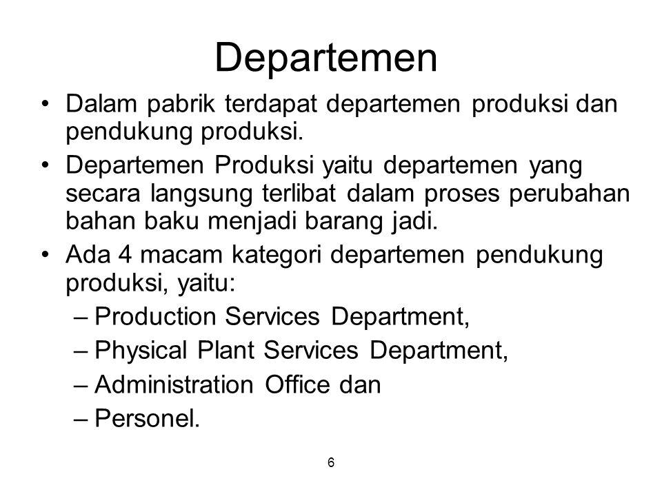 6 Departemen Dalam pabrik terdapat departemen produksi dan pendukung produksi. Departemen Produksi yaitu departemen yang secara langsung terlibat dala