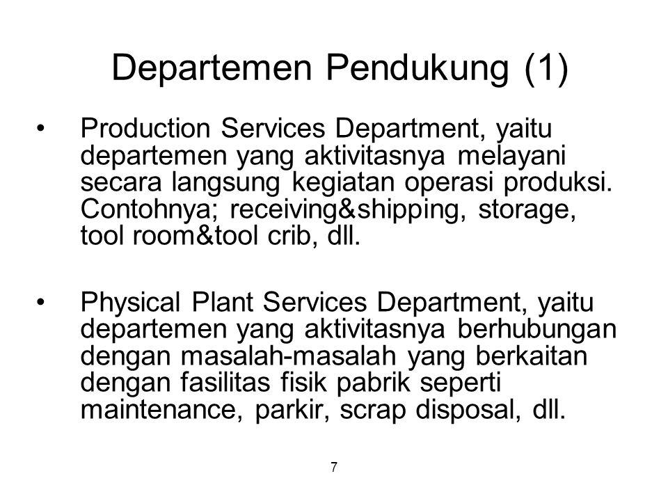 7 Departemen Pendukung (1) Production Services Department, yaitu departemen yang aktivitasnya melayani secara langsung kegiatan operasi produksi.