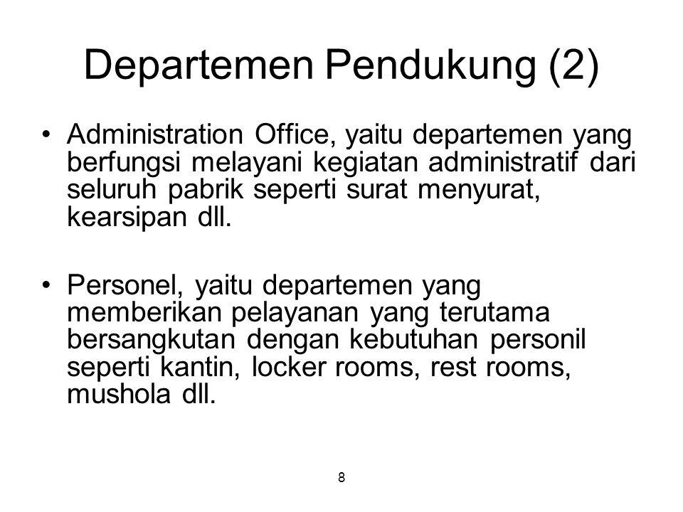 8 Departemen Pendukung (2) Administration Office, yaitu departemen yang berfungsi melayani kegiatan administratif dari seluruh pabrik seperti surat menyurat, kearsipan dll.