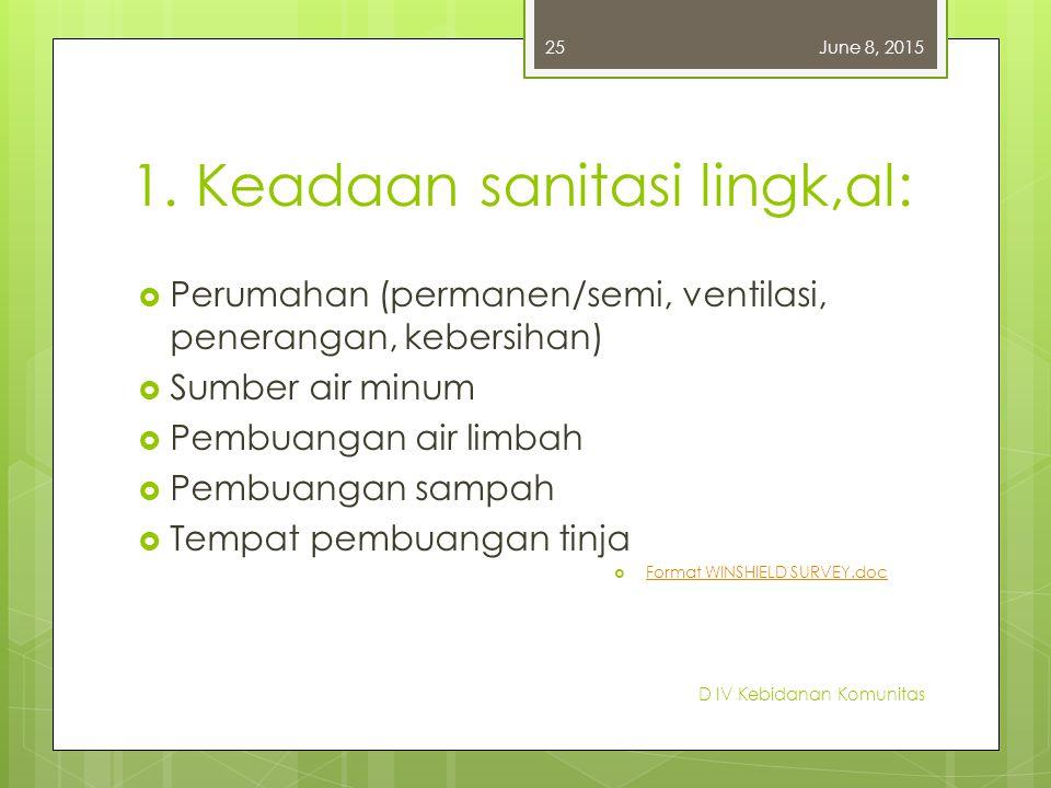 1. Keadaan sanitasi lingk,al:  Perumahan (permanen/semi, ventilasi, penerangan, kebersihan)  Sumber air minum  Pembuangan air limbah  Pembuangan s