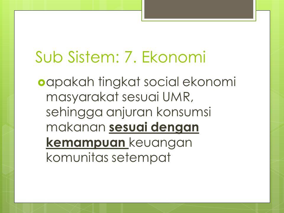  apakah tingkat social ekonomi masyarakat sesuai UMR, sehingga anjuran konsumsi makanan sesuai dengan kemampuan keuangan komunitas setempat Sub Siste