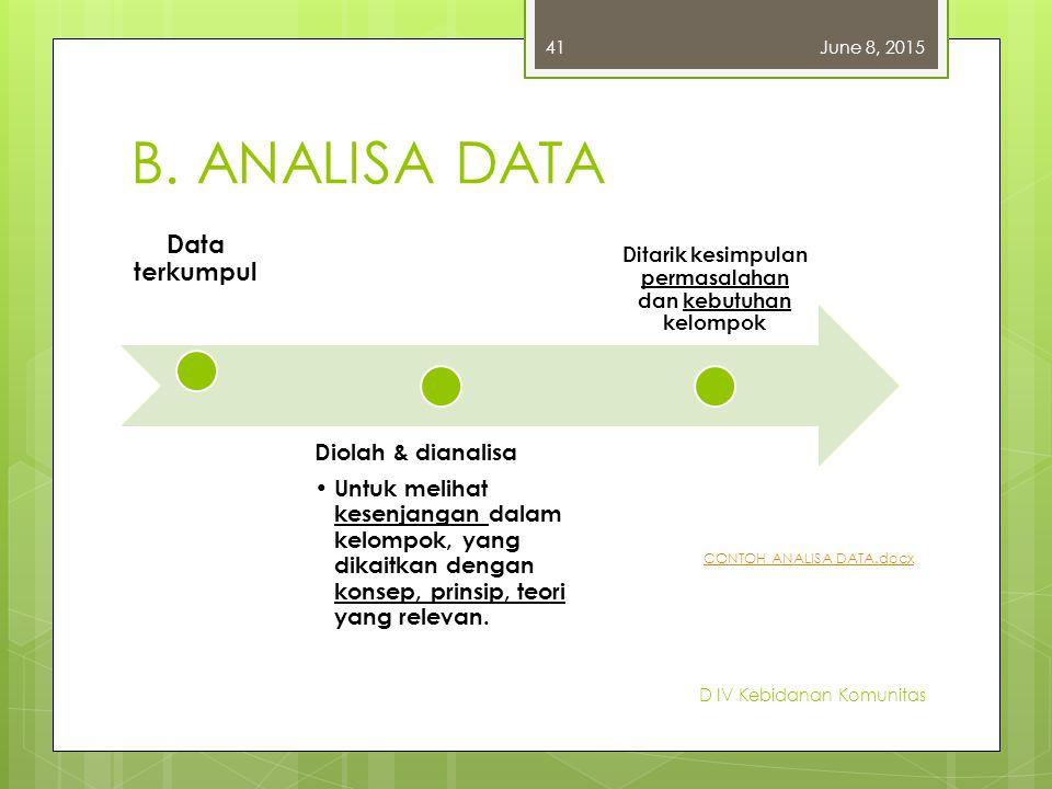 B. ANALISA DATA Data terkumpul Diolah & dianalisa Untuk melihat kesenjangan dalam kelompok, yang dikaitkan dengan konsep, prinsip, teori yang relevan.