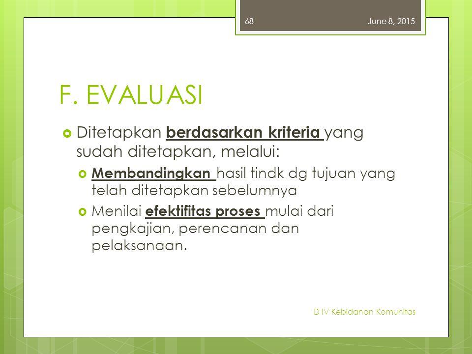 F. EVALUASI  Ditetapkan berdasarkan kriteria yang sudah ditetapkan, melalui:  Membandingkan hasil tindk dg tujuan yang telah ditetapkan sebelumnya 