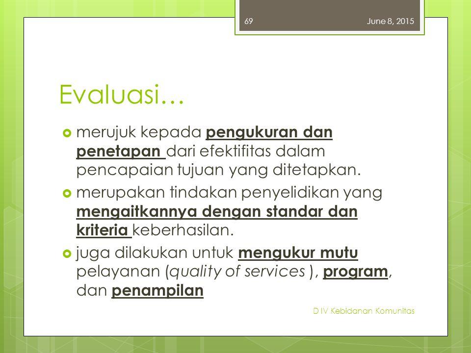 Evaluasi…  merujuk kepada pengukuran dan penetapan dari efektifitas dalam pencapaian tujuan yang ditetapkan.  merupakan tindakan penyelidikan yang m